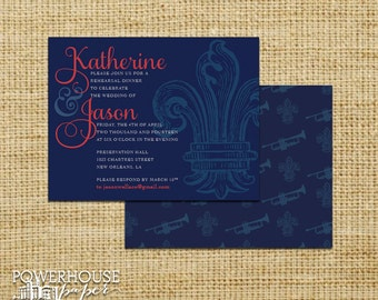 Fleur De Lys New Orleans Invitation - Save the Date - Rehearsal Dinner - Party