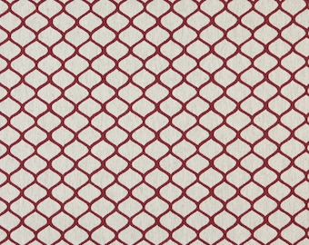 Red And Off White Modern Geometric Designer Quality Upholstery Fabric By The Yard | Pattern # A0005A