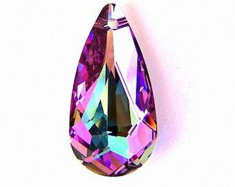 Vitrail Light Swarovski crystal pendant, 24mm teardrop, lavender and pink pendant, qty 1