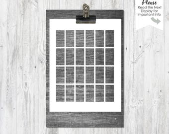 1x2 inch rectangles | Template | Collage Sheet |  PNG files | Instant Download