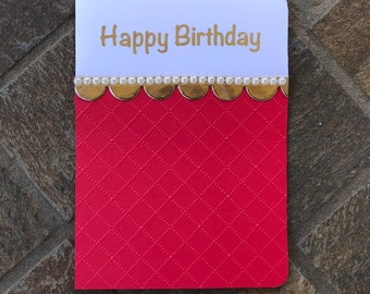 Handmade/pearl/gold/red/white/Happy Birthday card/blank inside/craftyBT/Made with Love heart