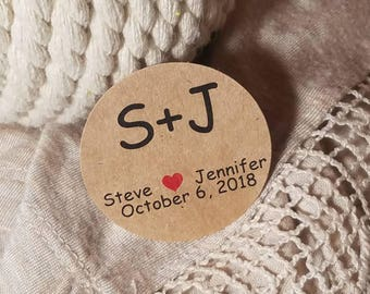 Personalized Monogram Initials  Custom Circle Tags - Round Tags  - Wedding Favor Tags Bridal Shower Tags Birthday - Wedding Shower tag