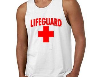 Lifeguard Man TANK TOP RED Logo Beach Tee Tank Top California Beaches S.O.S. Life Guard Sos