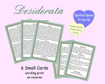 Desiderata Poem On Small Cards - Set of 6 - 3 Full Poem, 3 Edited For Positivity & Law Of Attraction
