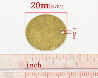 100 pcs. Antique Bronze Circle Round Stamping Tags- 20mm