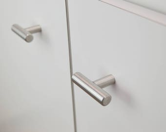 Modern, Silver Nickel Drawer Knobs, T-Knobs, Drawer Pull, Cabinet Pull, Cabinet Knobs