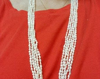 Vintage 1950s Multi Strand Freshwater Pearl Torsade Necklace Ornate Silver Vermeil Clasp