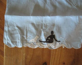 Black Female Silhouette with White Dog, Linen  Vintage