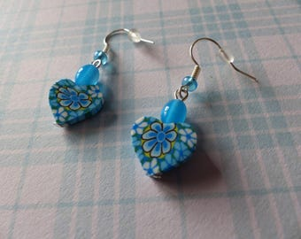 Pair of blue bubble gum and polymer heart Stud Earrings