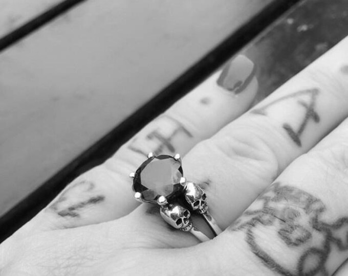 Double Skull Engagement Ring with Black Spinel in Sterling Silver all Sizes
