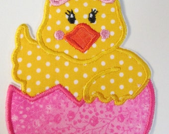 Easter Egg Chick - Iron On or Sew On Embroidered Applique