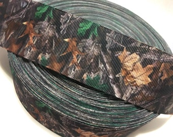 Camouflage Ribbon, Brown Green Camouflage Grosgrain Ribbon, Camo Ribbon, Camo Printed Ribbon, Camo Grosgrain Ribbon, Green Camouflage Ribbon