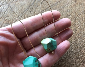 Strength - Turquoise and Gold Fill Open Hoop Earrings
