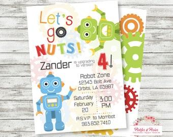 Robot Birthday Invitation - Printable Birthday Invitation - Robot Party Supplies - Digital File