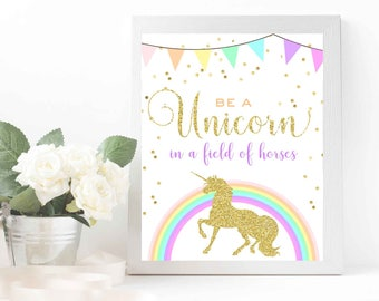 Unicorn birthday party sign - Unicorn wall art - Gold unicorn birthday printable Unicorn nursery kids wall art printable Be a unicorn