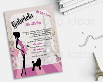 Paris Pink - Oh Lala! XV Años Printable Invitation, Wedding Invitation, Bridal shower invitation