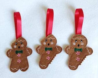 Christmas tree decorations felt, traditional christmas decorations, gingerbread men, gingerbread man tree decoration, felt christmas