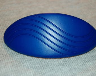 Barrette Hair Clip, Blue Geometric Large, Vintage old jewelry