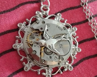 long necklace steampunk gears silver watch with swallow bird animal