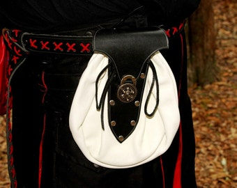 Large Renaissance Leather Belt Bag White with Black