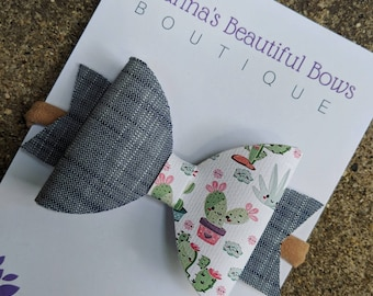 Denim & Cactus Bow