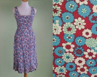 1970s Red White & Blue Floral Sundress Vintage 70s Dress XS Sm  Indian Cotton