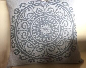 Medallion Pillow cover. Gray blue pillow cover. Accent pillow . Throw pillow . Decorative pillow. Designer fabrics. sofa  pillow. slipcover