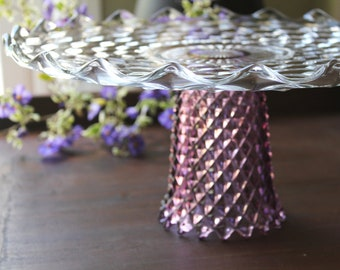 """14"""" Amethyst Cake Stand / Glass Cake Stand in Purple Plum / Cake Plate Pedestal Cake Platter Cake Dish / Vintage Cake Stand"""