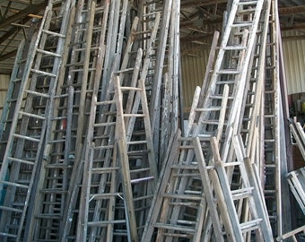 "Antique Wood Ladder with 13 Rungs - 156"" long - Choose a Vintage Surface or Pick a Color"