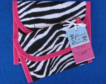Zebra Print Reusable Lunch Bag Set of 2 - Snack and Sandwich Size