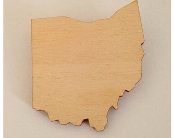 Wooden Ohio Brooch, State Shape Pin, Lasercut Wood, Gift for Friend
