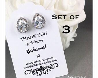 Set of 3 Wedding Earrings Crystal Stud Earrings Bridal Earrings Bridal Jewelry Gift for Her Cubic Zirconia Earrings Maid of Honor Gift