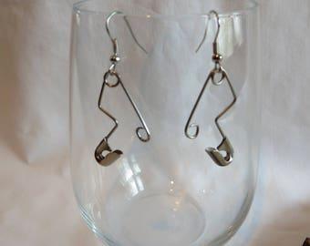 Silver Pin Earrings, earrings, pin, dangle