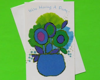 Vintage American Greetings Laurel PARTY Invitations - New Old Stock - FLOWER POWER - 1960s 1970s