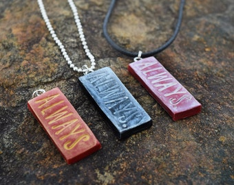 Always Harry Potter-Inspired Stamped Pendant Necklace - Red or Black