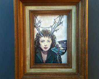 FAIRY Edith Piaf - framed original painting Butterfly Wings and Antlers