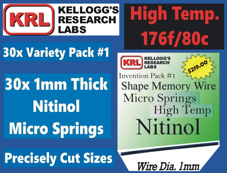 30x NITINOL MICRO SPRING Variety Pack1 High Temp All 1mm