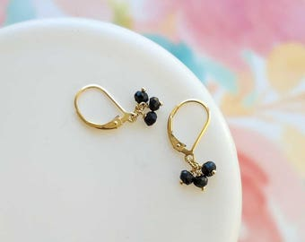Black Earrings Tiny Dangle Black Onyx Gemstone Earrings Small Drop Black Gold Dainty Jewelry Leverback Earrings Gift for Her  Remy and Me