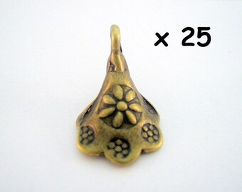 Set of 25 Cup charms bronze 11 x 18 mm