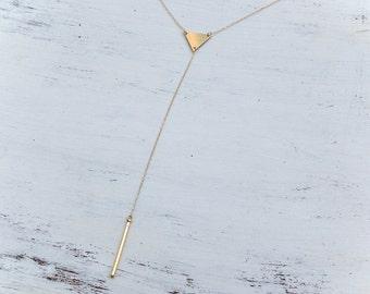 lariat necklace,y necklace,gold lariat necklace,y drop necklace,long necklace,modern jewelry,y necklace gold,geometric necklace, A119 ,A&T