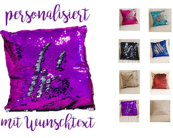 Sequined pillows/pillows with sequins with name slogan text/turning sequins/name pillows Glitter/Mermaid Pillow