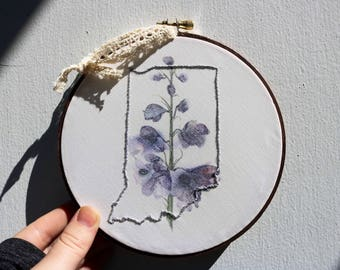 State Embroidery Print (purple flowers)