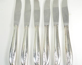 Midcentury Silver Dinner Knives. Wm A Rogers Retro Flower Utensils. Silver-Plated Knives. Oneida Lady Catherine. Vintage Silverware.