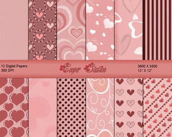 Digital Printable Valentine Paper Pack DP020