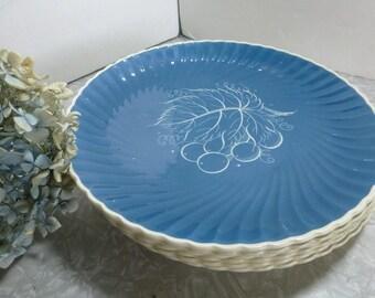 Susie Cooper Teal Grape Leaf Plate Swirl Crown Works Production Burslem England