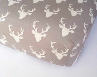 Woodland Crib Bedding - Grey White Deer Crib Sheet - Woodland Nursery Bedding - Buck Mini Crib Sheet - Changing Pad Cover -Fitted Baby Sheet