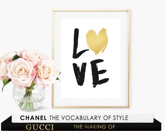 Painted Love Faux Gold Art Print - Instant Digital Download