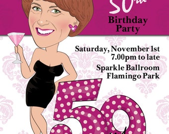 Women's 50th Birthday Party Invitation - Illustrated from your photo DIGITAL FILE