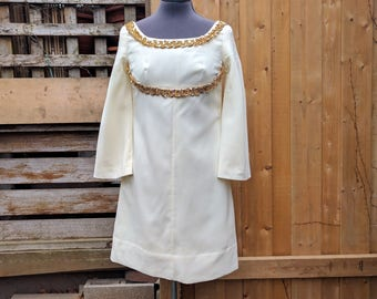 Vintage 1960s Cream Beige White With Gold Detail Empire Waist Mini Dress Go-Go Mod With Bell Sleeves