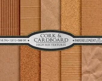 Cardboard Digital Paper: Corkboard Digital Paper, Cork Textures, Printable Corkboard Paper, Cardboard Paper & Kraft Paper, Cardboard Texture
